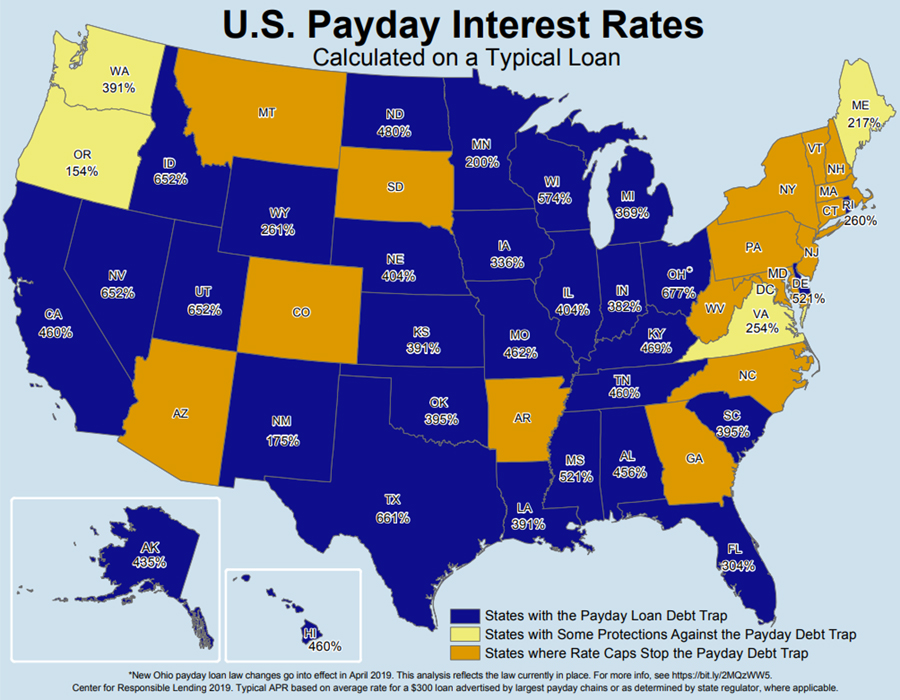 Map Of Us Payday Interest Rates Center For Responsible Lending - World-map-with-us-in-center